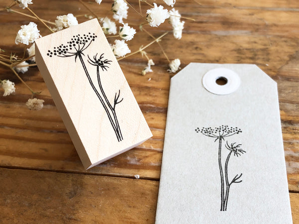 Japanese Botanical Garden Wooden Rubber Stamp - Lace flower