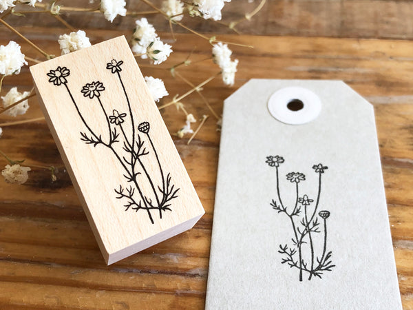 Japanese Botanical Garden Wooden Rubber Stamp - Chamomile