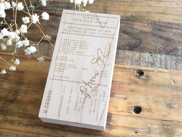 Japanese Wooden Rubber Stamps - Vintage / Antique Style Receipt Stamp (L)