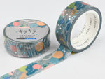 Japanese Washi Masking Tape with gold foil stamped - Planets