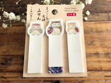 Traditional Japanese Die-cut One Point Sticker / Sticky Stick It index tab - Owl