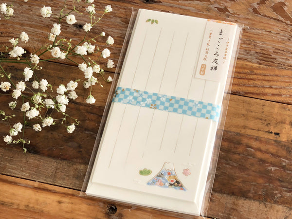 Traditional Japanese Embossed Mini Letter Set / Writing Paper with Envelope - Mountain Fuji