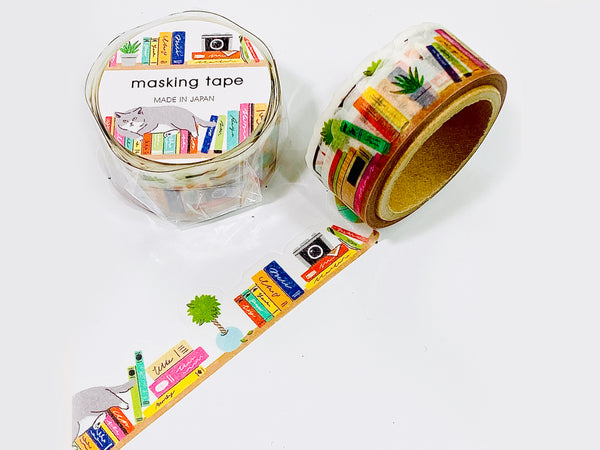 Japanese Die-Cut Washi Masking Tapes / 18mm Bookshelf