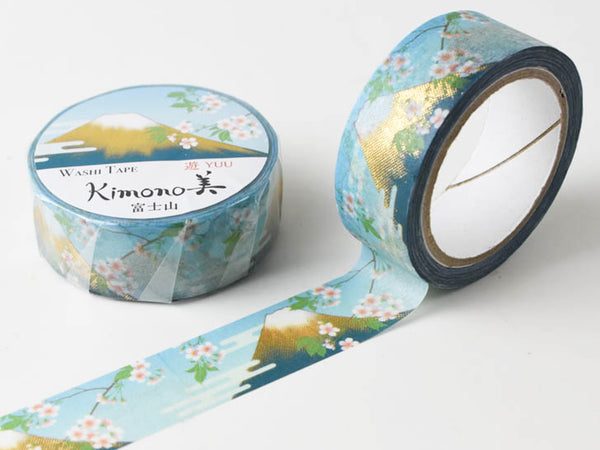 Kimono Beauty Yuzen Washi Masking Tape with gold foil stamped - Mountain Fuji