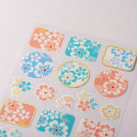 Traditional Japanese Style Masking Sheet of Sticker - Blue and Pink Flower Patterns