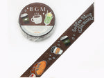 BGM Japan Washi Masking Tape - 15mm Crayon Style Coffee Shop with foil stamped