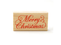 "Pretty Script Japanese ""Merry Christmas"" Wooden Rubber Stamp for Holiday Cards, Invitations, Tags, Packagings and more"