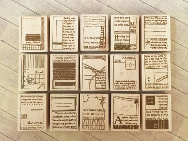 "Discontinued-Japanese Wooden Rubber Stamp from Chamil Garden / Little Path - ""Book"" Series"
