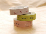 Classiky Japanese Washi Masking Tapes / Weekly / Days