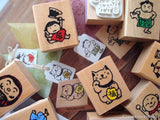 Cute Traditional Japanese Style Wooden Rubber Stamps