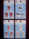 Kawaii die-cut One Point Stickers / Boy and Bear, Little Ballerina, Sunday Cooking Gril, Billy the Cat  at your choice