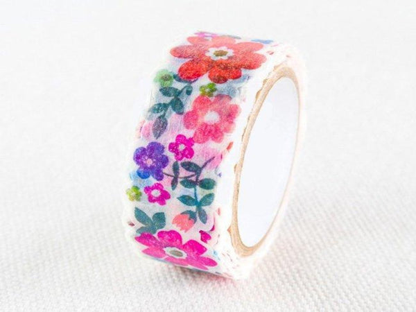nami nami Die-Cut Japanese Washi Masking Tape / 15mm Colorful Watercolor Flower Garden