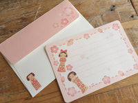 Japanese Kokeshi Mini Letter Set / Writing Paper Card with Envelopes