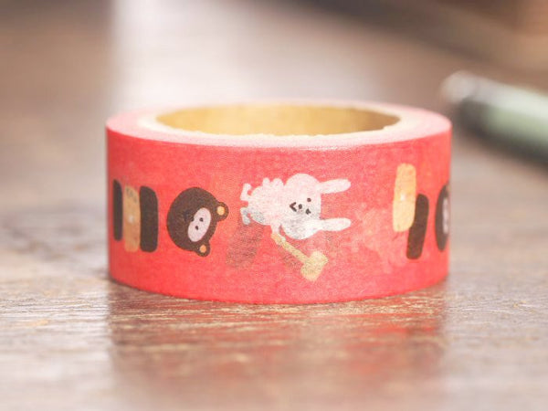 Japanese Washi Masking Tape - Folk Tales Series -Kachi-kachi-yama (Rabbit and Raccoon) 18mm wide for packaging, party deco, crafting
