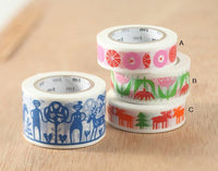 MT ex 2013 Japanese Washi Masking Tape -  Bengt & Lotta Series Happy Moose, Candy, Tulip at your choice