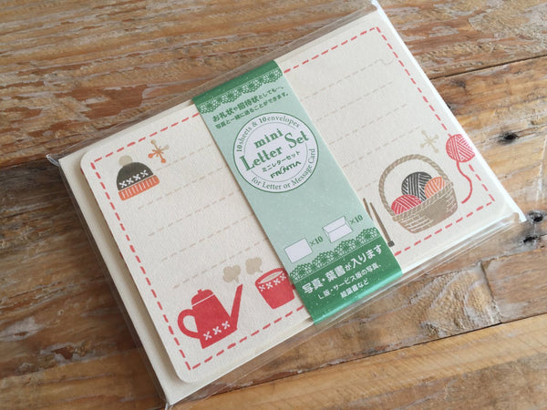 Japanese Mini Letter Set / Writing Paper Card with Envelopes - Cozy Winter