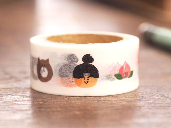 Japanese Washi Masking Tape - Folk Tales Series - Momotaro (Peach Boy) 18mm wide for packaging, party deco, crafting