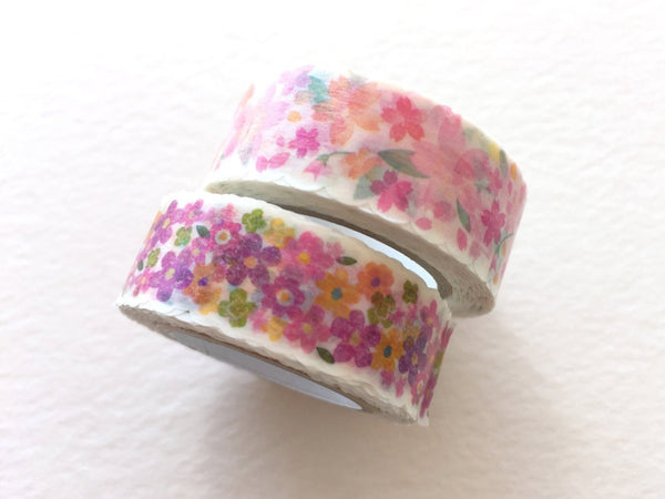 nami nami Die-Cut Japanese Washi Masking Tape / 15mm Sakura Cherry Blossoms & Little Flowers
