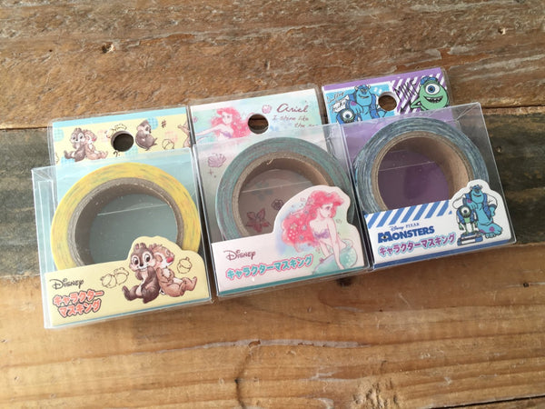 15mm Paper Tape / Chip & Dale, Little Mermaid, Monster University at your choice