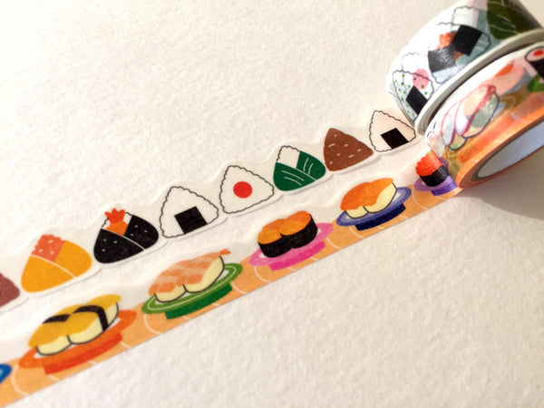 nami nami Die-Cut Japanese Washi Masking Tape / 15mm Japanese Rice Balls & Sushi