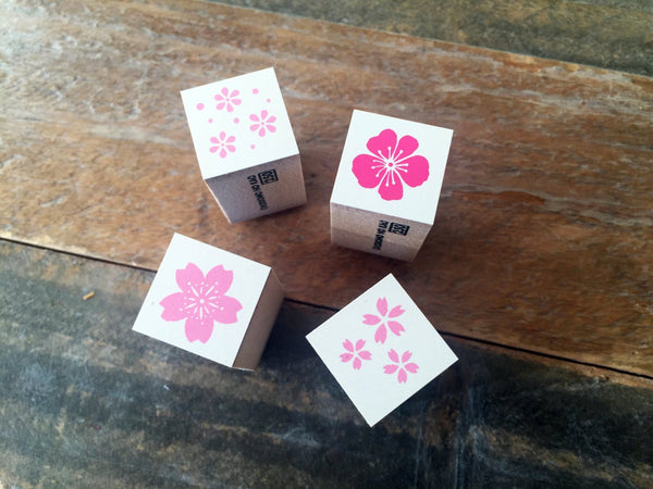 Mini Japanese Wooden Rubber Stamp-Sakura, Petals, Flora at your choice