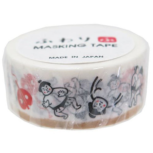 Japanese Washi Masking Tape - Sumo wrestler 18mm wide for journaling, packaging, party deco, crafting