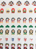 One Point mini tiny Washi Stickers / Seals - Traditional Japanese Design (Kabuki)