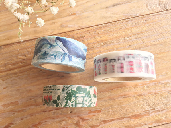 Sunny Sunday Original Washi Masking Tapes - Strawberry, Whale and Kokeshi Doll at your choice