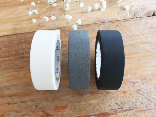 Solid Color Japanese Washi Masking Tapes / Matt Black, Matt White and Matt Gray at your choice