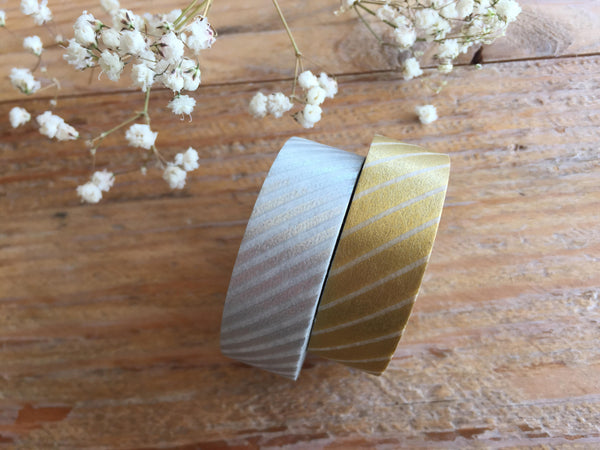 2 Dollar Sale - MT 2012 Japanese Washi Masking Tape / Gold & Silver Stripes