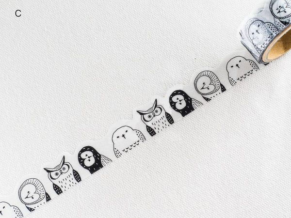 Die-Cut Japanese Washi Masking Tapes / Owls at your choice for journaling, scrapbooking, packaging, invitation, card, tag making