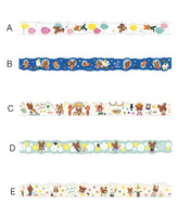 "Die-Cut Japanese Washi Masking Tapes/ ""Kuma no Gakkou"" (The Bears' School) 15th Anniversary for bullet journaling, hobonichi deco, packaging"