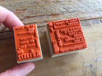 "Japanese Wooden Rubber Stamps - Vintage Style ""French Label"" & ""Railroad Ticket"" Stamps"