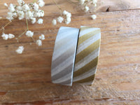 MT 2017 - Japanese Washi Masking Tape / Gold and Silver Stripes for journaling, scrapbooking, packaging, wedding invites, scrapbooking