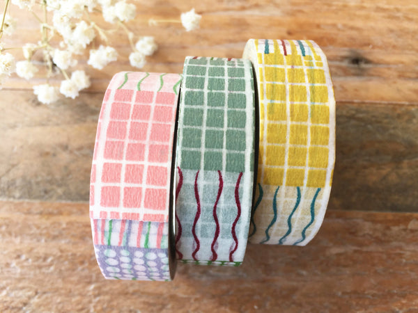 Discontinued-Japanese Washi Masking Tapes / Lines, Dots and Grid in 3 colors at your choice