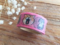 Japanese Die-Cut Washi Masking Tape / 18mm Nyabanban Cat & Shibanban Dog