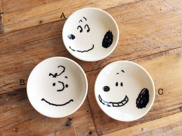 Japanese Petite Ceramic Tray - Snoopy Faces at your choice