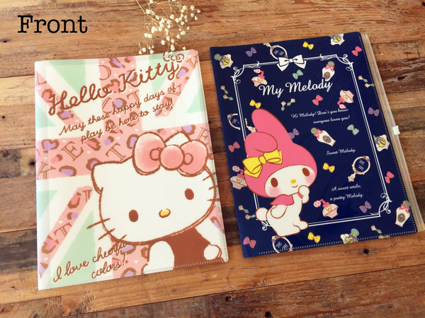 Hello Kitty or Melody 6 Pockets + 1 Zip Pocket A4 Size Clear File Holder / Folder for organize your schoold papers, files, stickers