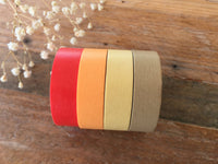 Discontinued-Solid Color Autumn Brown Color ReMix Japanese Masking Tape Set of 5 for Holidays, Weddings, Parties (15mm long, 50% more)