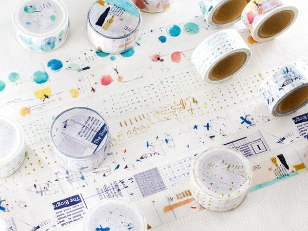 "Japanese Washi Masking Tape - Little Path / Chamil Garden Vol.9 ""Elsewhere"" series for journaling, packaging, snail mail, scrapbooking"