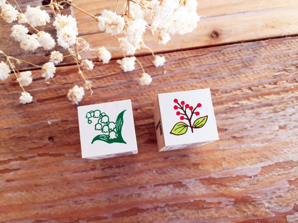 Mini Japanese Wooden Rubber Stamp - Lily of the valley & Nandina