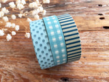 Classiky Japanese Washi Masking Tape Single -Blue Stripes, dots and grids at your choice
