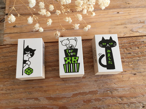 Japanese Wooden Rubber Stamps - Cat