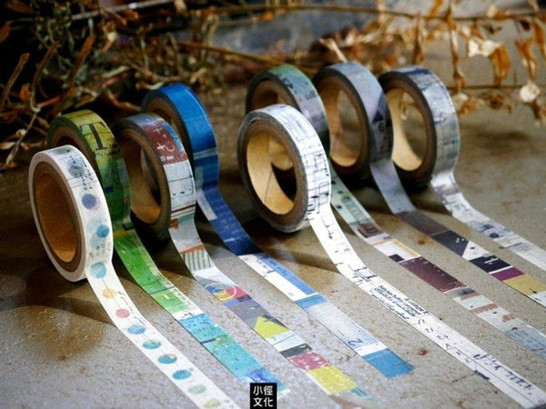 "Japanese Washi Masking Tape - Little Path / Chamil Garden Set of 8 Collage Design Slim Tapes Vol. 2 ""Meeting"""