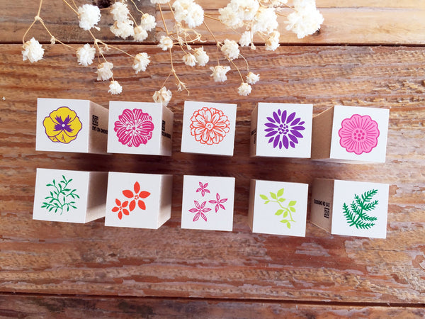 Mini Japanese Wooden Rubber Stamp-Flowers & Leaves at your choice
