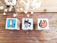 Mini Japanese Wooden Rubber Stamp - Meerkat, French Bulldog, Sloth