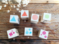 Mini Japanese Wooden Rubber Stamps - Geometric Shapes