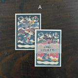 Classiky Traditional Kawaii Japanese Kokeshi Doll Bookplate Labels - 20 pieces (Set A or B)