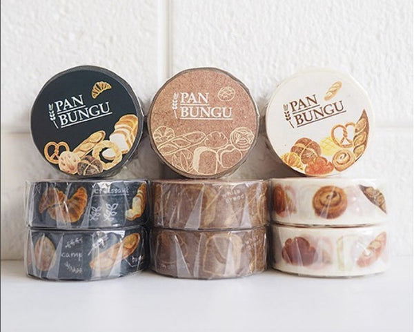 "Pan Bungu Original Washi Masking Tapes - ""Bread"" at your choice for journaling, techo planner deco, packaging, card making"