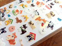 Sheet of Sticker - WaterColor Cute Dogs and Japan